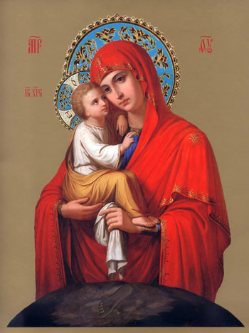 """Схема вышивки  """"Почаевская икона Божией матери """" ."""